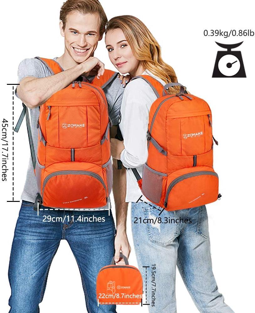 Sac de Randonn/ée pour Homme Femme Sports et Plein air ZOMAKE Sac /à Dos Compact 35L Sac /à Dos Pliable L/éger