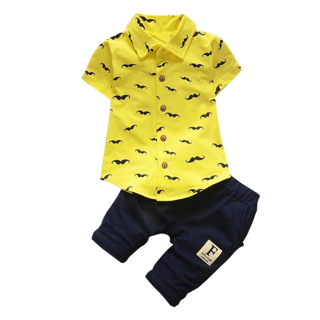 ❤️Ropa para Niños Bebés Conjunto, Tefamore Conjunto de Ropa de Barba Tops + Shorts Pants Outfit, 3-24M Tefamore Ropa para niños
