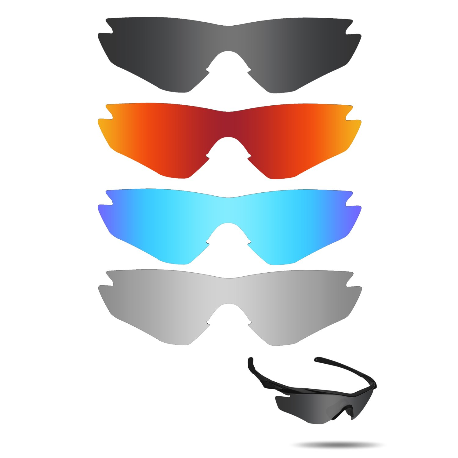 Fiskr Anti-saltwater Replacement Lenses for Oakley M2 Frame Sunglasses 4 Pairs Pack