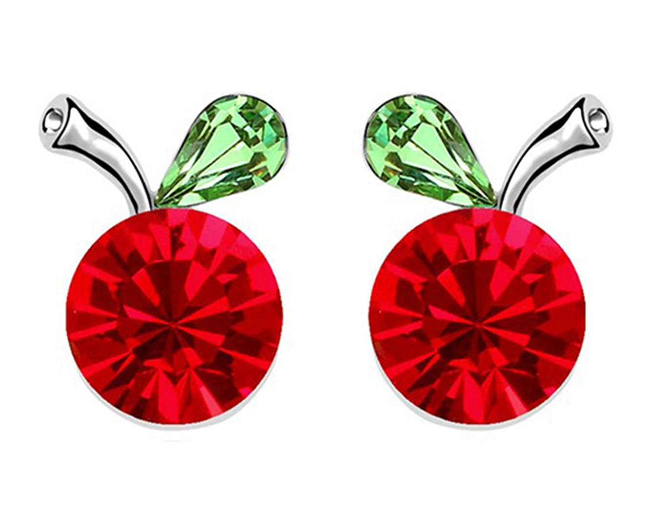 5887efa59 Amazon.com: Gift for Girls White Gold Plated Crab Apple Fruit Round Ruby Red  Swarovski Element Crystal Stud Earrings Fashion Jewelry for Women: Jewelry