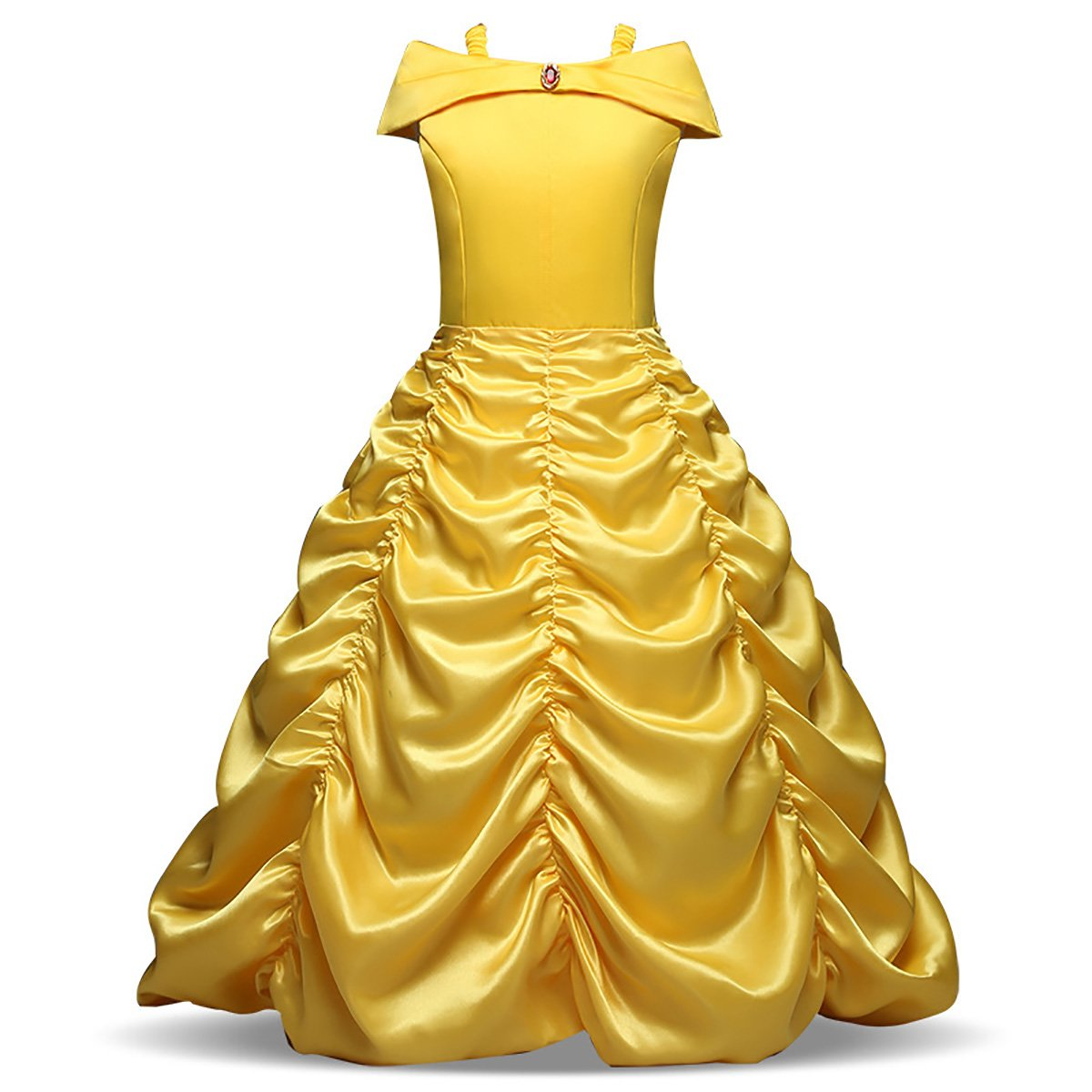 Enterlife Little Girls' Belle Princess Costumes Layered Off Shoulder Princess Disney Dress up Halloween