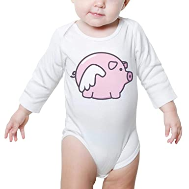 3a0de0666 Cute Little Flying Pig Baby Onesies White Clothing Long Sleeve Neutral  Cotton Cute