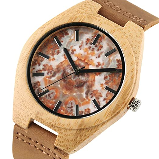 Amazon.com: Unique Marble Wooden Wristwatch For Men Women Wood Grain Stylish Leather Wristband Watches Bamboo Case: Beauty