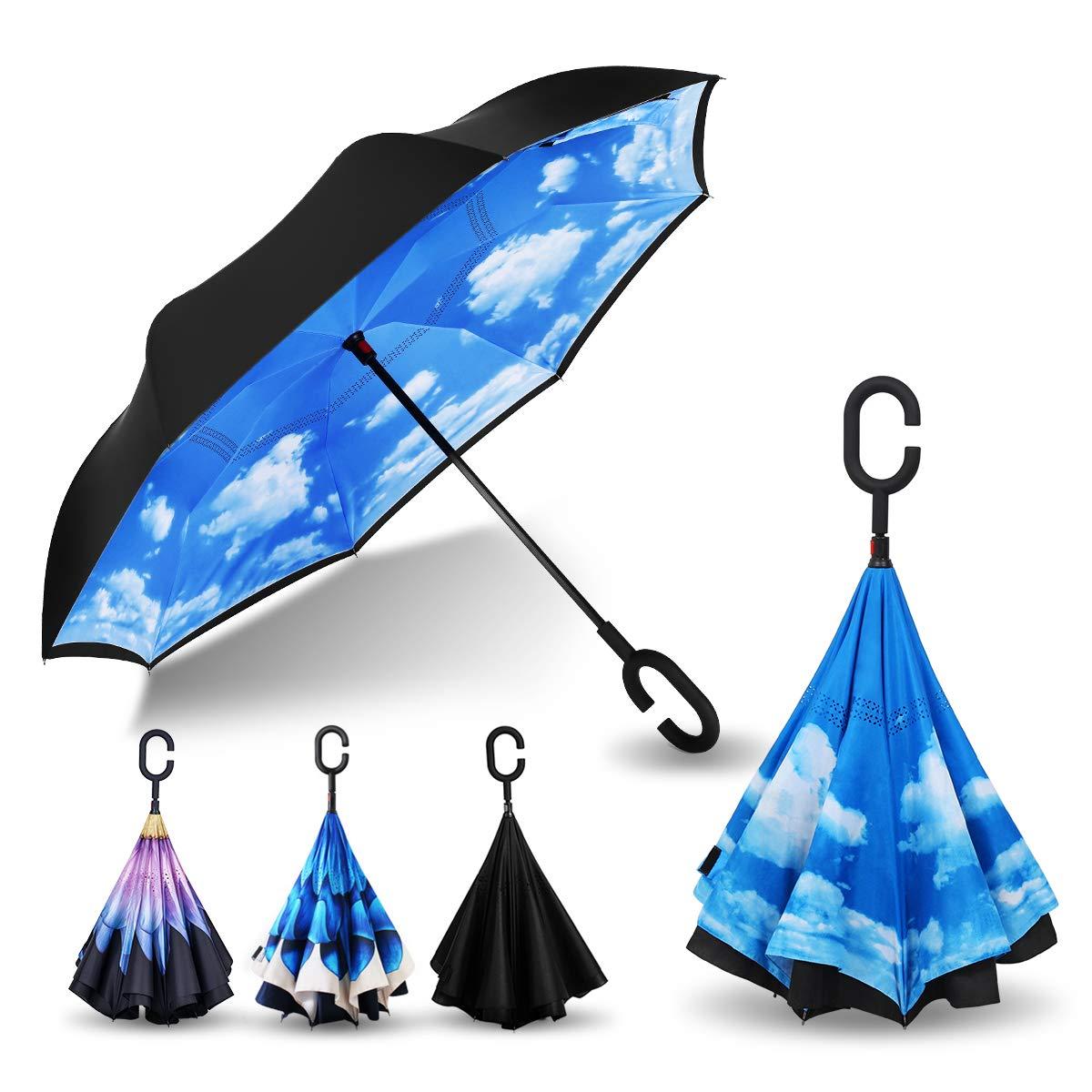 YY-Paraguas Reverse Umbrella Double-Layer Long Handle Large Hands-Free Inverted Folding Umbrella