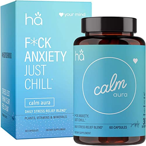 Calm Aura – Natural Stress Anxiety Relief Pills for Adults – Mood Support Adaptogen Blend – Vegan Non-GMO w Ashwagandha, L-Theanine, Rhodiola, Chamomile, Hawthorne, Zinc, Magnesium 60 ct