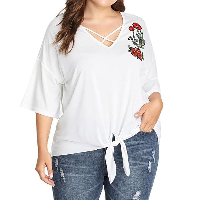 Camiseta Tallas Grandes con Bordados Mujer LHWY, Blusa De Cuello EN V Color Sólido Tops