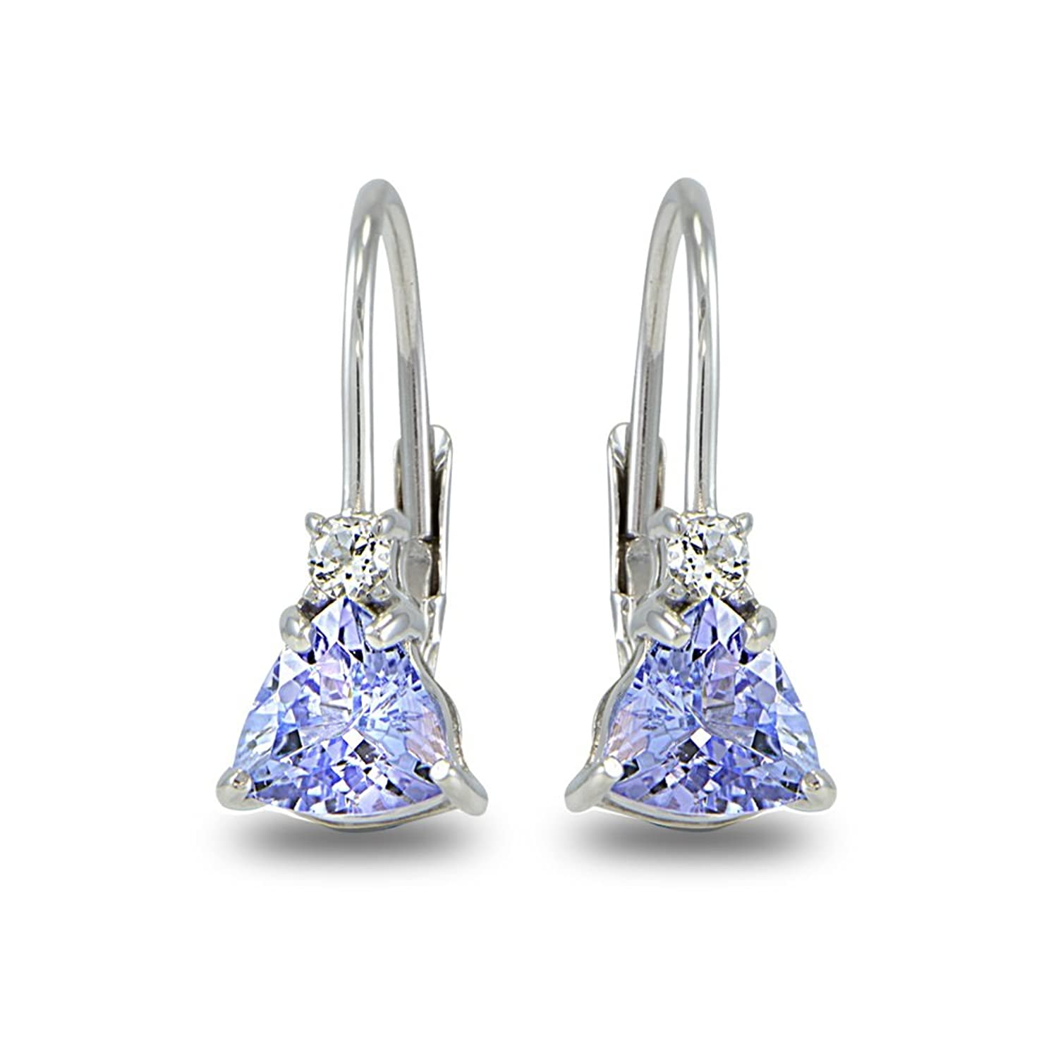 trillion sterling cut tanzanite stud natural silver earrings