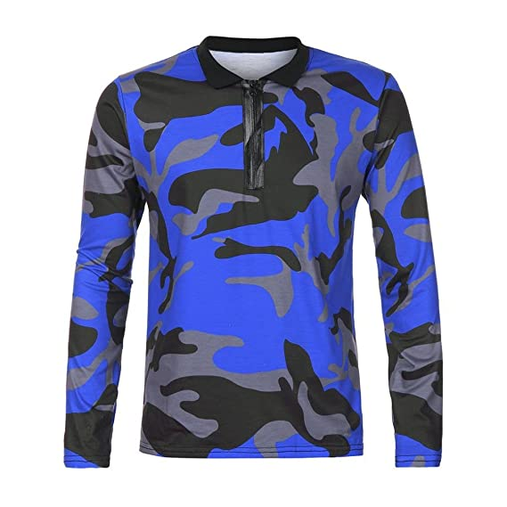 Amazon.com: WM & MW Hot Mens Polo Shirts Casual Long Sleeve Zipper Camouflage Pullover Tee Shirt Top Blouse: Clothing