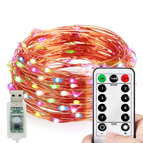 HAHOME Starry String Lights USB Plug In with Timer Remote Dimmable, 33Ft 100 LEDs Fairy Lights for Bedroom Indoor Decorative,Multi-Colored