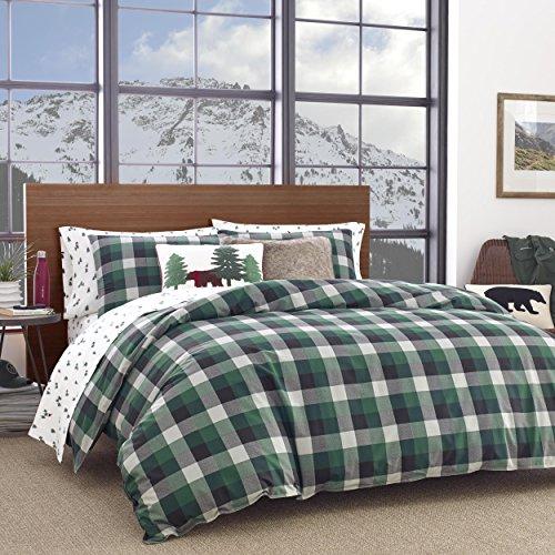 Green Plaid Comforter - Eddie Bauer Birch Cove Plaid Comforter Set, Full/Queen, Dark Green