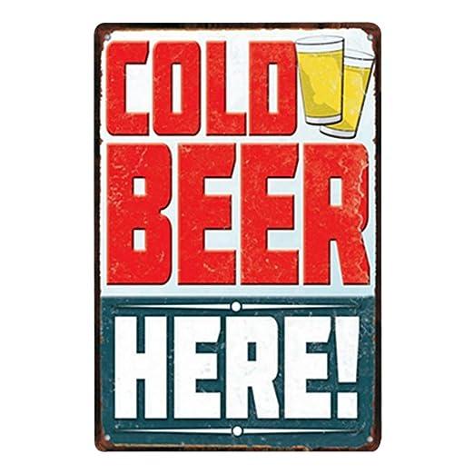 kentop Retro Cartel de chapa Hielo cerveza Póster Bar Publicidad Pared Cartel para puerta cartel metálico para bar restaurante decoración de pared
