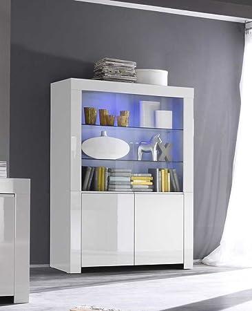 Vitrine Amalfi 2 Türig, 123 X 170 X 50 Cm, Weiß Hochglanz: Amazon.de: Küche  U0026 Haushalt