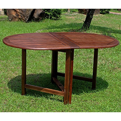 - International Caravan VF-4119-IC Furniture Piece Highland Acacia Miami Oval Gate Leg Folding Dining Table