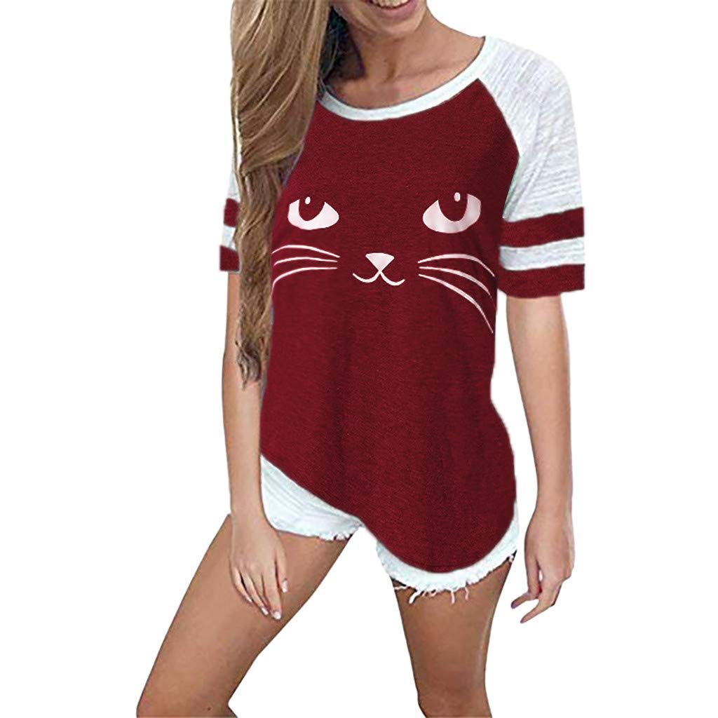 Ladies T-Shirt,Shirt for Women,Fartido Tee Ladies Summer Cat Print Short Sleeved Top Blouse Red