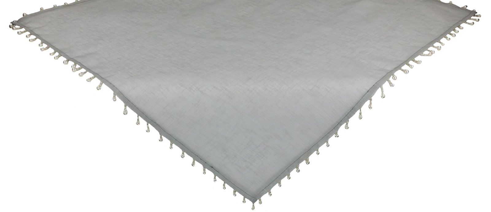 Xia Home Fashions Sheer Beaded Table Topper, 34 by 34-Inch, Silver