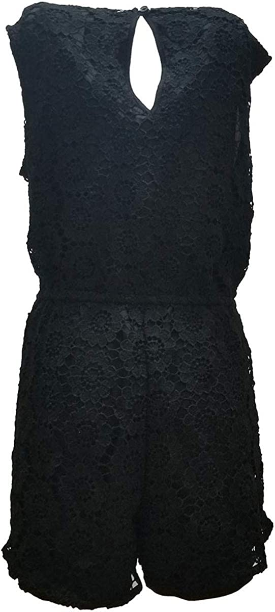 American Rag Juniors Sleeveless Lace Romper Jumpsuit Classic Black Large