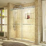 DreamLine Charisma 56-60 in. W x 76 in. H Frameless Bypass Sliding Shower Door in Chrome, SHDR-1360760-01