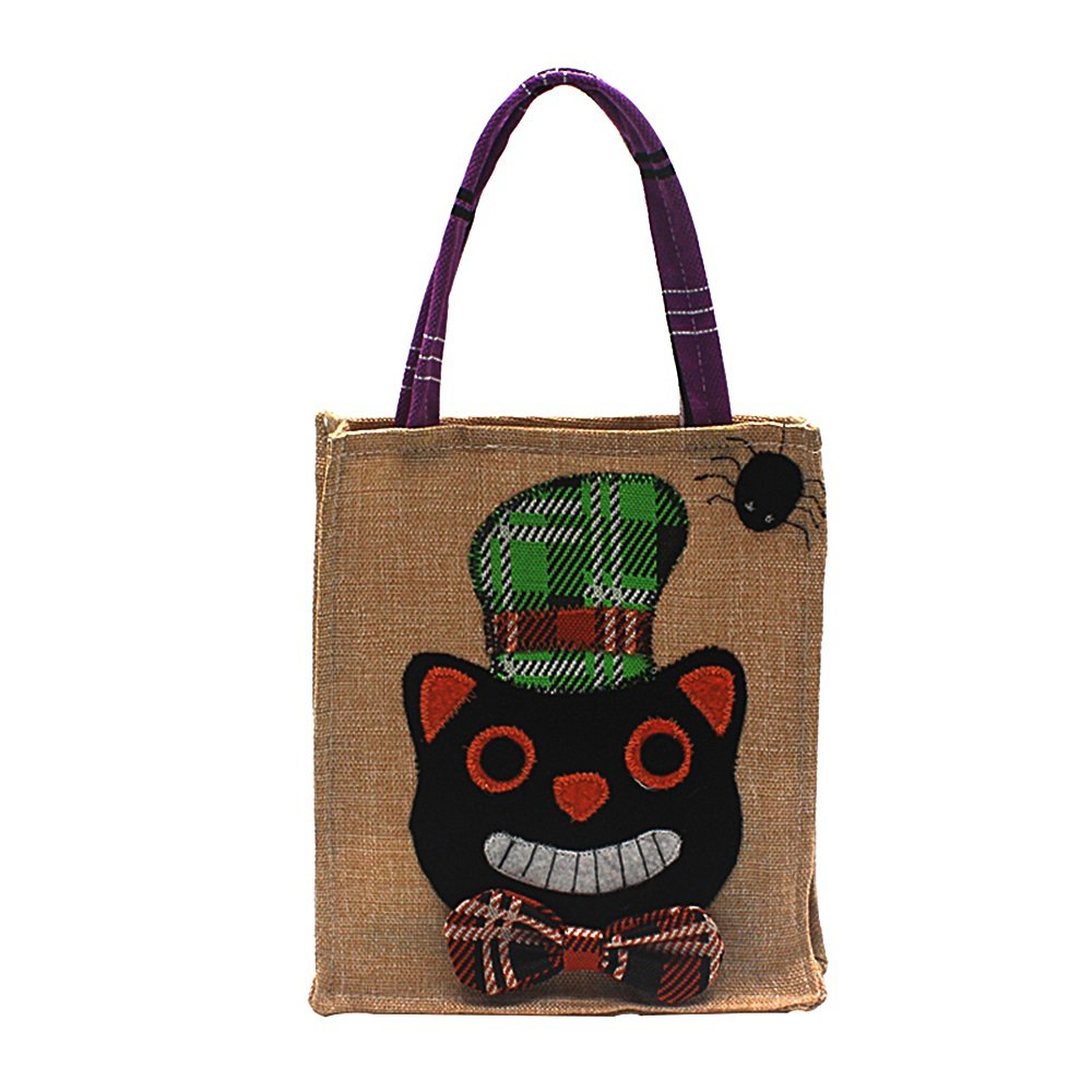Shirleyle Halloween Decorations Cat Printed Tote Bag Ghost Festival Mall Hotels Cookies Gift Bags