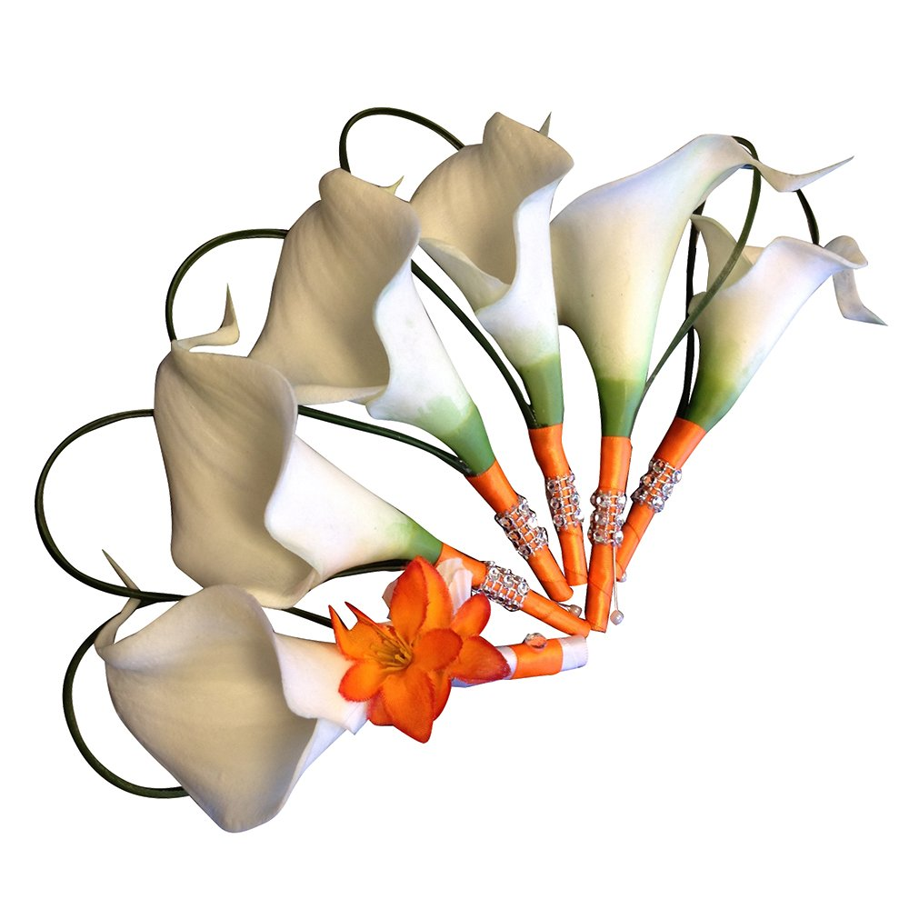 Set of 6: White and Orange Calla Lily Boutonnieres - Perfect for Prom, Weddings, etc. by Angel Isabella