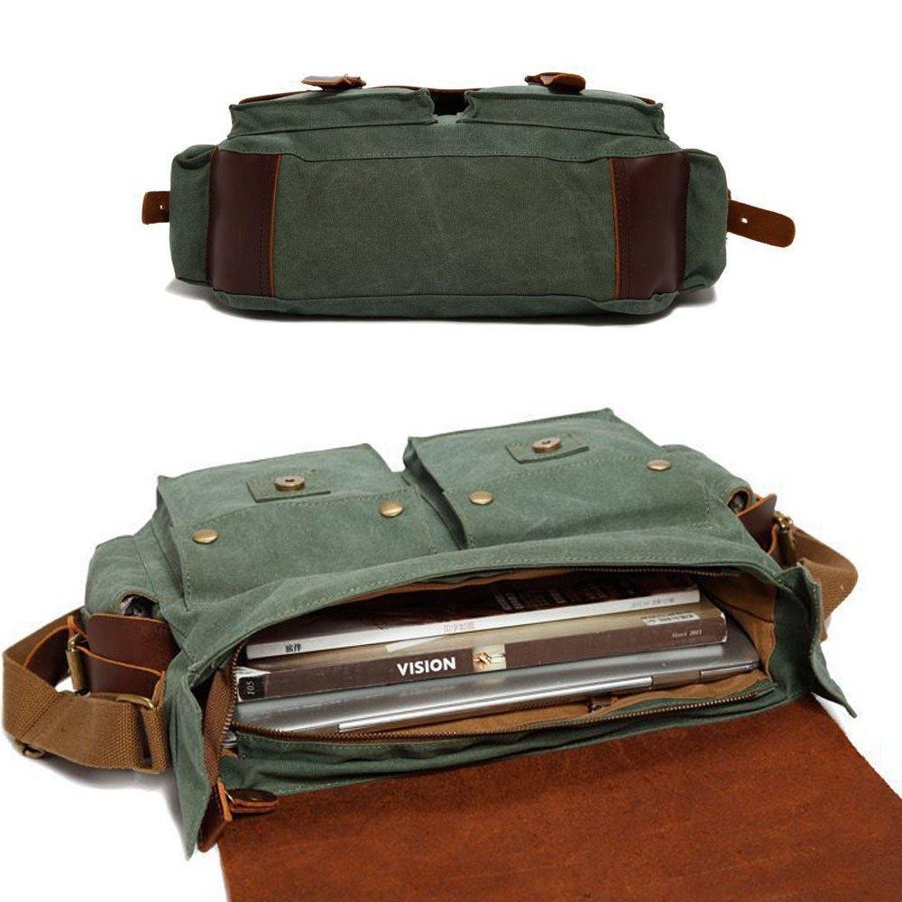 Color : Brown LPYMX Vintage Horse Leather Canvas Mens Messenger Bag