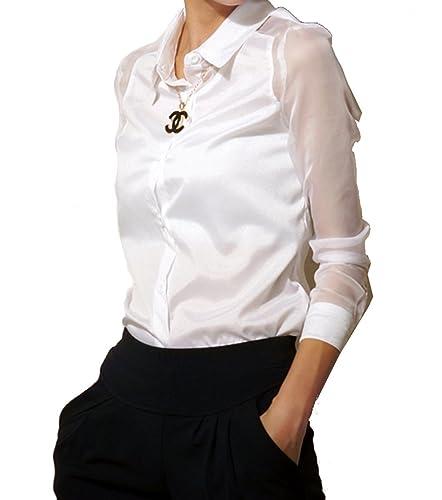 ELLAZHU damas de alta cuello de la camisa blusa de gasa GH08 (Negro, M)