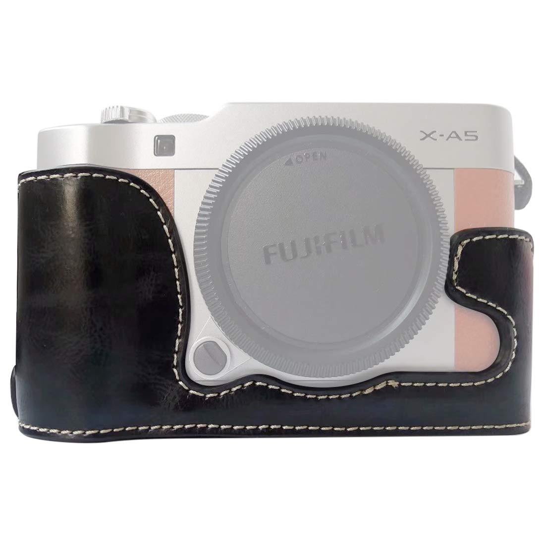 ファッション 便利 耐久性 1/4 インチ スレッド PU レザー カメラケースベース 富士フイルム X-A5 / X-A20 プリティ用 (カラー:ブラック) B07MJQPXCY