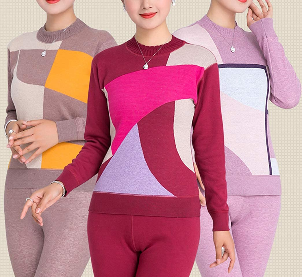 YVWTUC Middle-Aged Women High Neck Thermal Underwear Set Autumn Top and Bottom Pajamas 2Pc HJ18War12150k