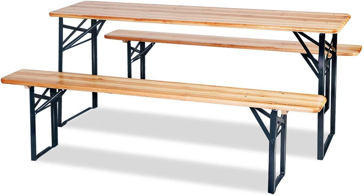 HOMGX 3-Piece Picnic Table, 70'' Folding Picnic Table with Benches, Outdoor Portable Wooden Picnic Table, Picnic Beer Table Set with Stable Metal Frame, Camping Picnic Table for Garden, Patio