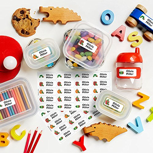The Very Hungry Caterpillar Theme Original Personalized Peel and Stick Waterproof Custom Name Tag Labels for Adults, Kids, Toddlers, and Babies – Use for Office, School, or Daycare