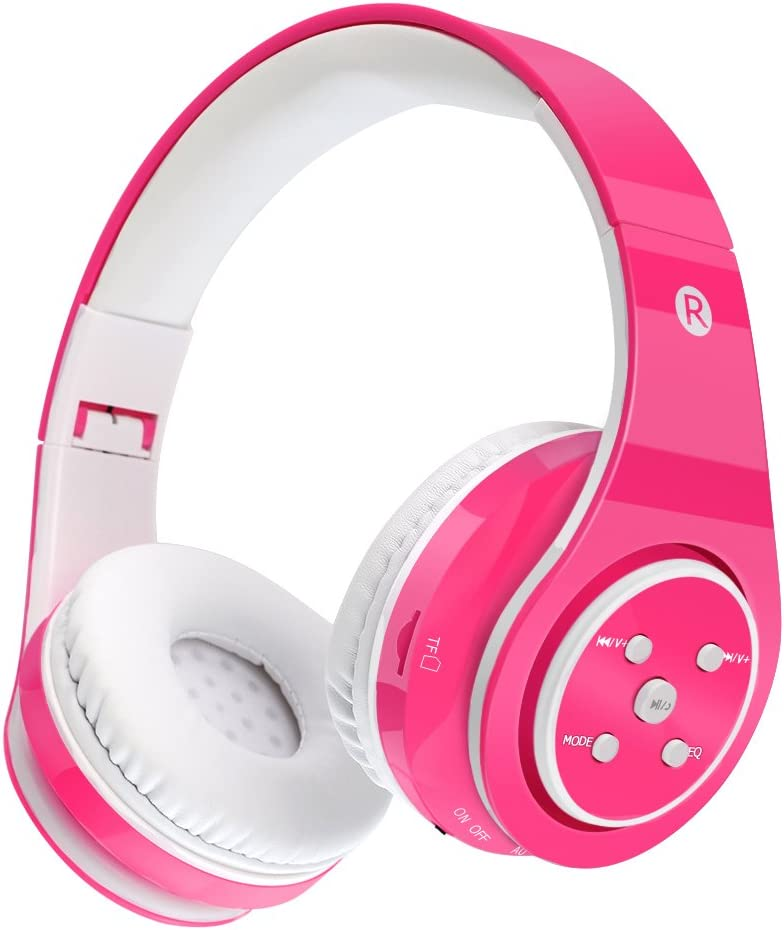 Auriculares inalámbricos para niños Auriculares de volumen seguro con Bluetooth Volumen limitado (Rosa)