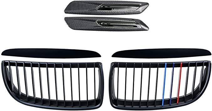 2X Matte Black Euro Front Upper Kidney Grille Grill LH RH Kit Replacement for BMW Car 2005-2008 E90 Pre-Facelift