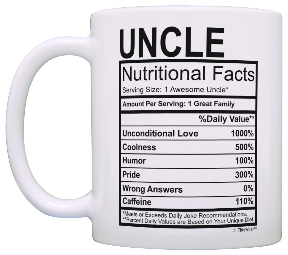 Amazon Birthday Gifts For Uncle Nutritional Facts Label Gift Ideas 2 Pack Coffee Mugs Tea Cups White Kitchen Dining