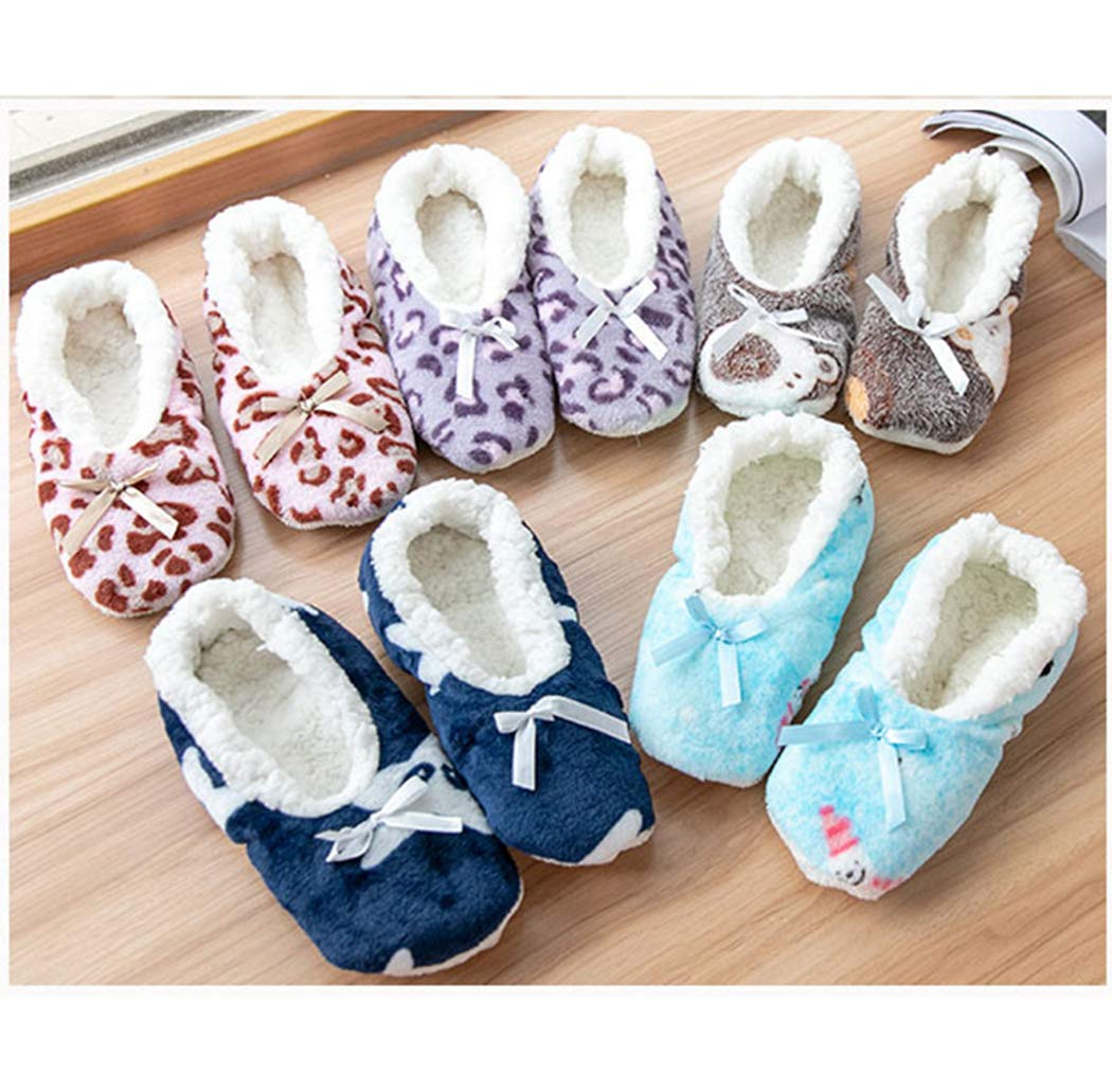 Nafanio Winter Warm Socks Plush Slippers Solid Super Soft Home Indoor Butterfly-Knot Women Flats Shoes