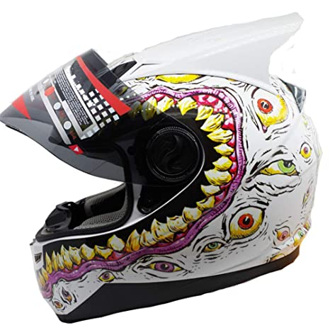 Casco Moto Individual/Doble Ángulo Casco Unisex Adulto Off-Road Flip Up Cascos integrales