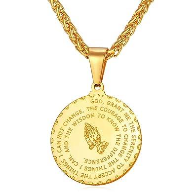 Yellow gold plated praying hands pendant with bible verse necklace yellow gold plated praying hands pendant with bible verse necklace for men women christian jewelry aloadofball Choice Image