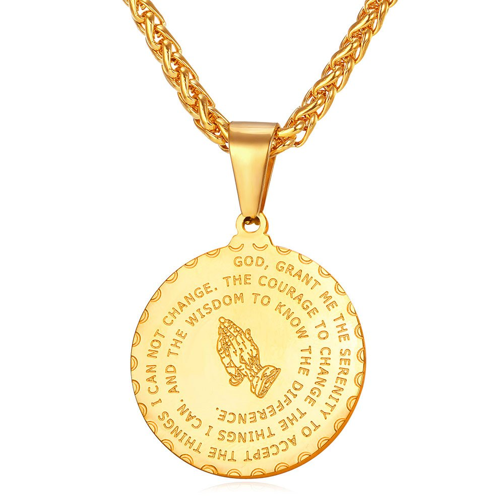 U7 Gold Plated Bible Verse Prayer Necklace 22'' Free Chain Christian Jewelry Praying Hands Coin Medal Pendant