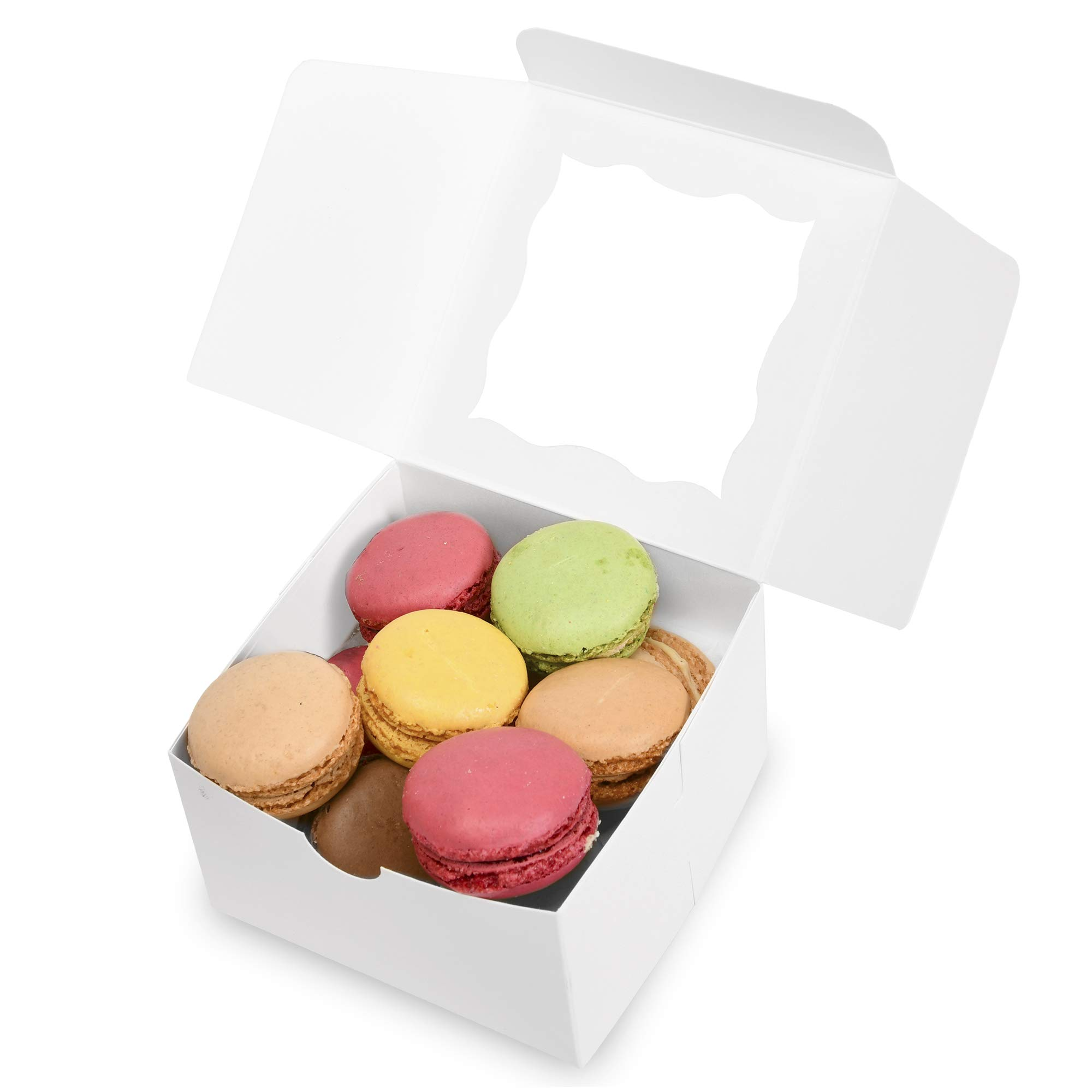 {Pack of 50} White Bakery Boxes with Window 4x4x2.5'' Cute Cardboard Gift Packaging Containers for Cookies, Cupcakes, Small Desserts, Pastry, Wedding Cake, Baby Showers, Donuts, Treats, Party Favors! by Surf City Supplies (Image #3)