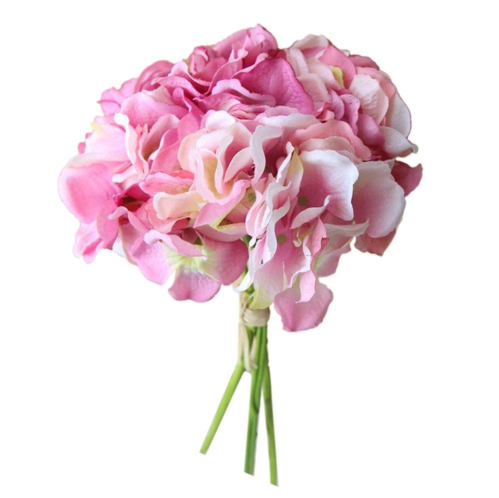DICPOLIA ブライダルブーケ ウェディング人工シルク造花 牡丹花柄ウェディングブーケ ブライダルアジサの飾り 花 Free Size ブラック B07GW96BZG ピンク