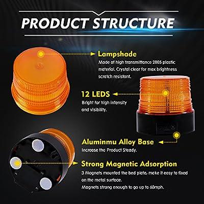Wireless Led Strobe Light, Amber Emergency Magnetic Flashing Warning Beacon for Truck Vehicle with 12-24v Cigarette Lighter Plug: Automotive