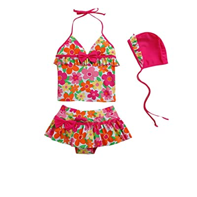 [Flower World] Cute Girls Swimsuit Colorful Beachwear, 4-6 Years Old