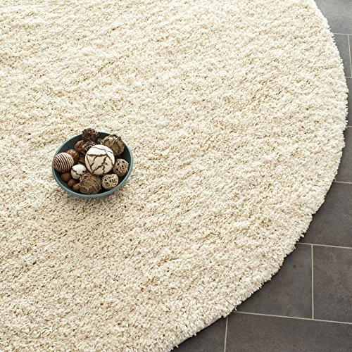 Safavieh California Premium Shag Collection SG151-1212 Ivory Round Area Rug (4' Diameter)