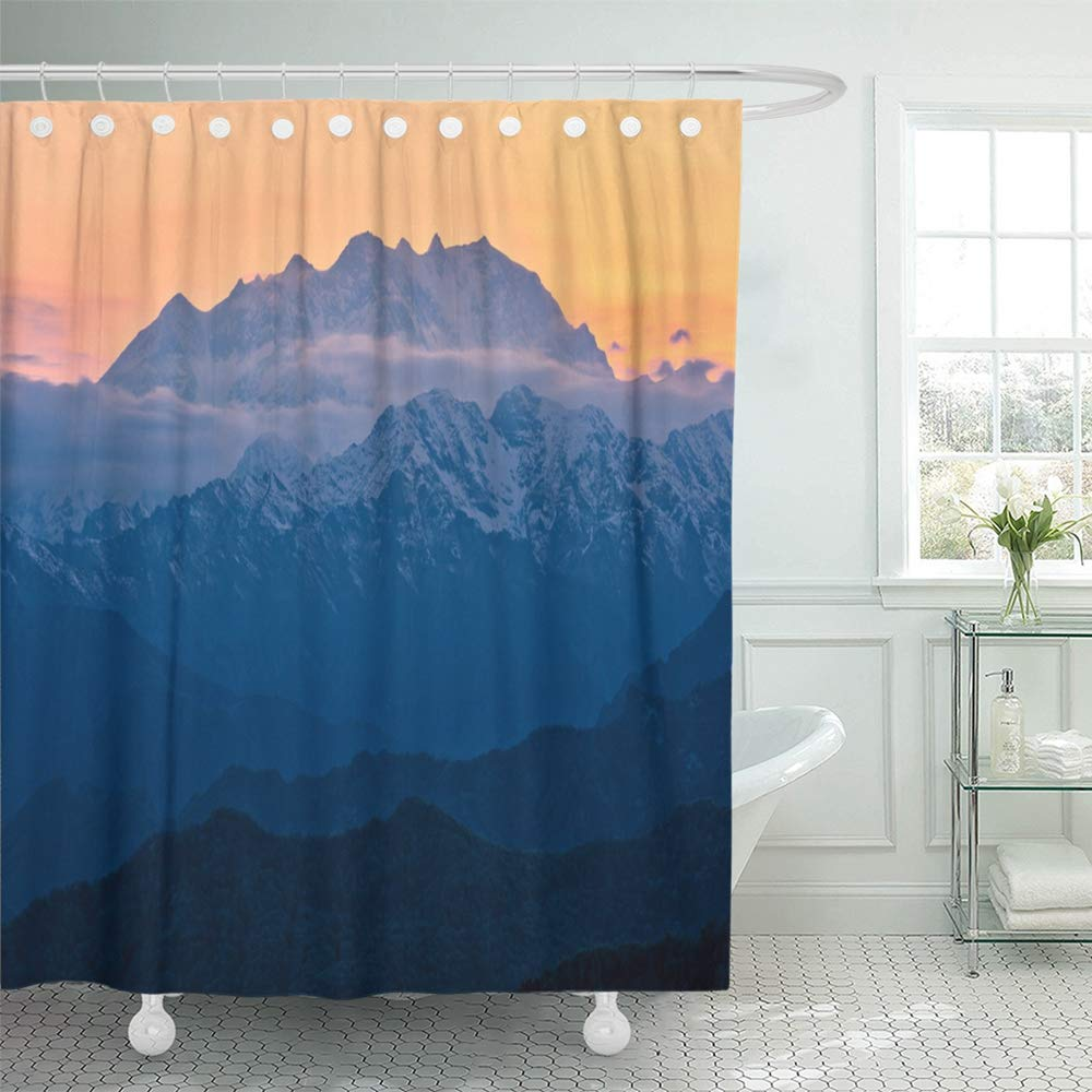Emvency Decorative Shower Curtain Pink Adventure Monte Rosa Mountain Italian Alps Seen from Valsesia at Sunset Alpine 66x72 Waterproof Mildew Resistant Bathroom Shower Curtains Set with Hooks