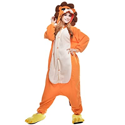 dressfan Unisexes Adulte Enfants Pyjama Animaux Lion Costume Cosplay