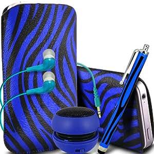 ONX3 Samsung Gaxaxy Light protección Zebra PU Leather Slip Tire Cord En la bolsa del lanzamiento rápido con Mini capacitivo Stylus Pen, 3.5mm en auriculares del oído, Mini Altavoz Cápsula recargable (Azul y Negro)