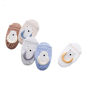 113afbacecaa5 ベビー 幼児用純綿靴下 ソックス スニーカーソックス 5足 セット 滑り止め付き 女の子 床