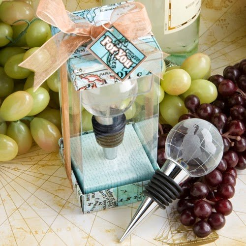 40 Glass Globe Design Wine Bottle Stopper Favors (Globe Wine Stoppers)