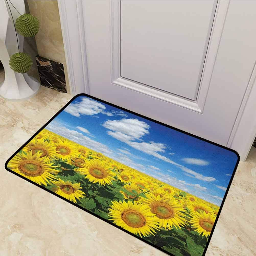DESPKON Bath Mat Fresh Sunflowers Field Under Clear Sky Clouds Countryside Farm Picture Entrance Door Mat for Home Indoor/Outdoor Floor Entrance Blue Green Yellow 24 x 47 Inch