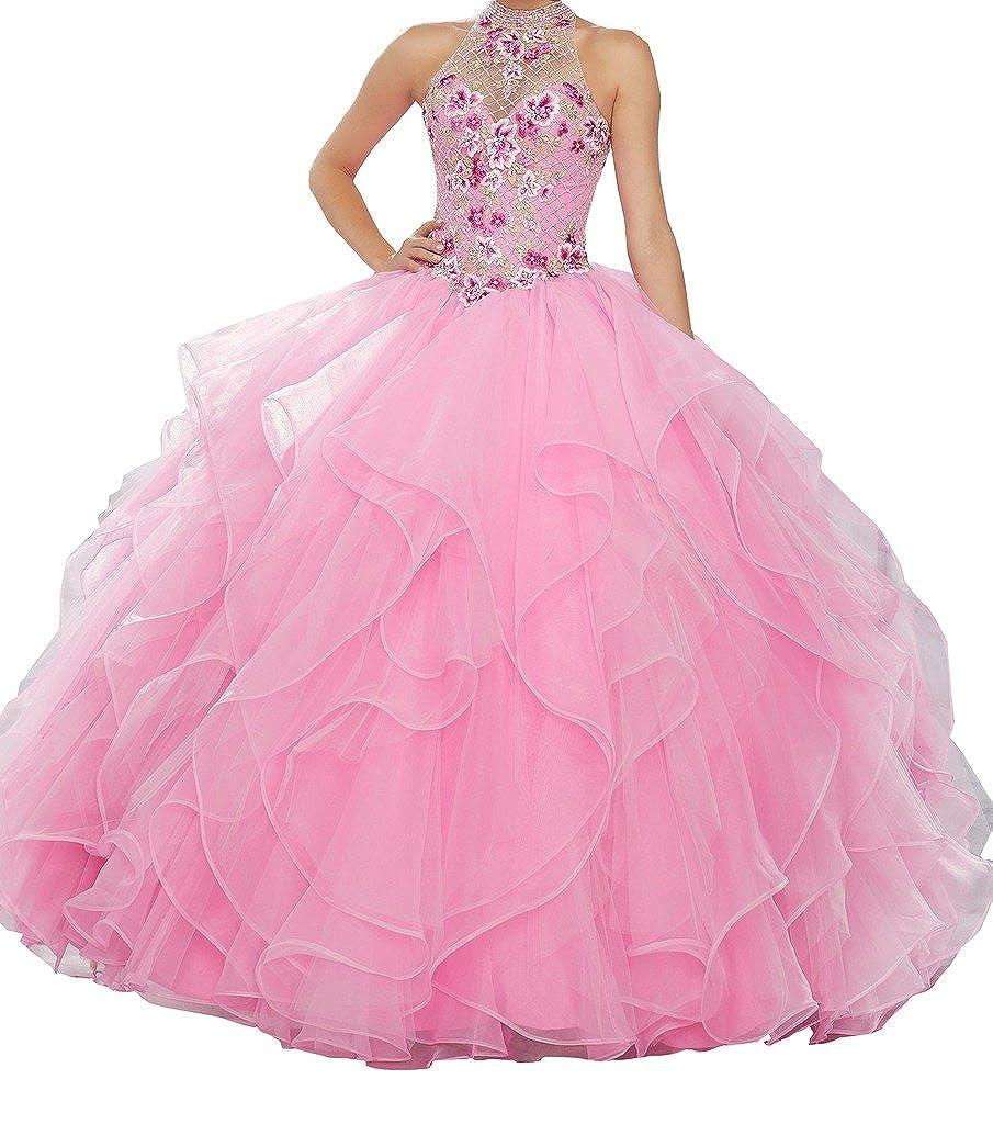 bluesh PuTao Women's Multicolord Appliques High Halter Sweet 15 Quinceañera Dresses