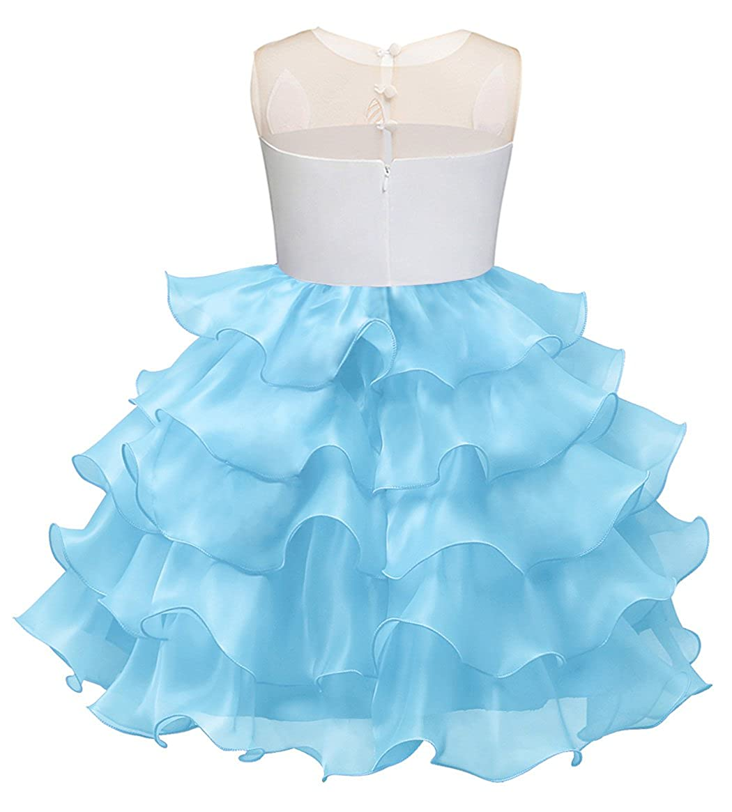 AmzBarley Girls Unicorn Dress Princess Costume Tulle Flower Cosplay Party