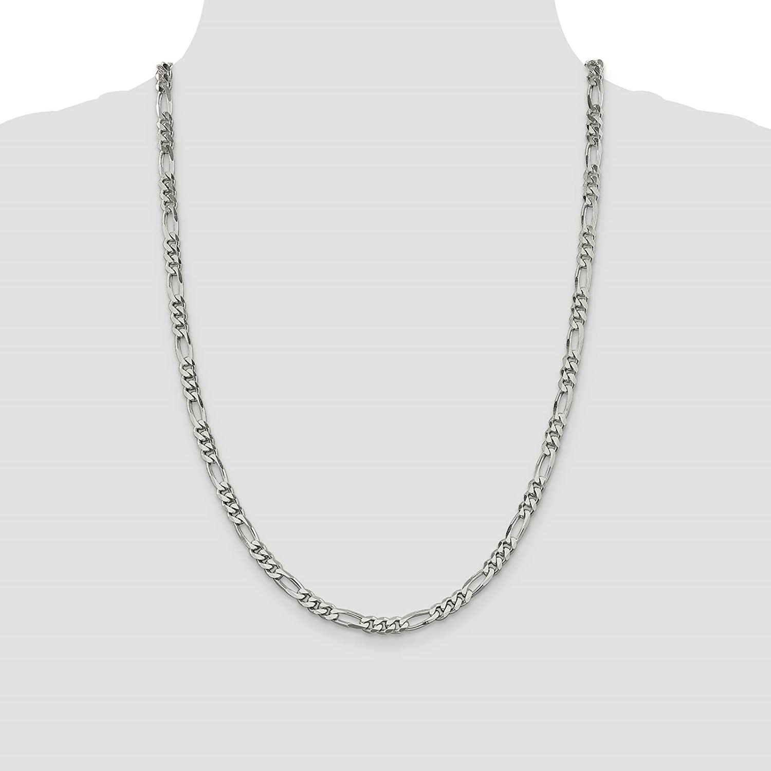 925 Sterling Silver Rhodium-finish 5.2mm Figaro Link Chain Necklace 8-24
